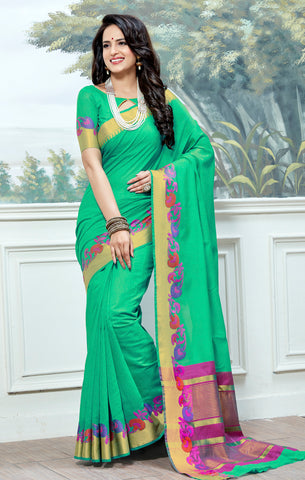 Designer Partywear Cotton Silk Sea Green Printed Zari Work Saree By Takshaya