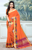 Designer Partywear Cotton Silk Orange Printed Zari Work Saree By Takshaya
