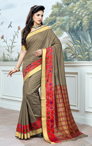 Designer Partywear Cotton Silk Grey Printed Zari Work Saree By Takshaya