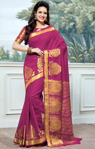 Designer Partywear Cotton Silk Magenta Printed Zari Work Saree By Takshaya