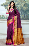 Designer Partywear Cotton Silk Purple Printed Zari Work Saree By Takshaya