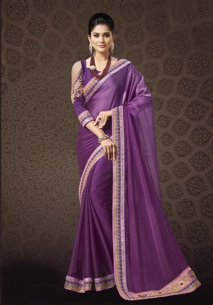 Designer Partywear Two Tone Purple Soft Satin Saree By Takshaya