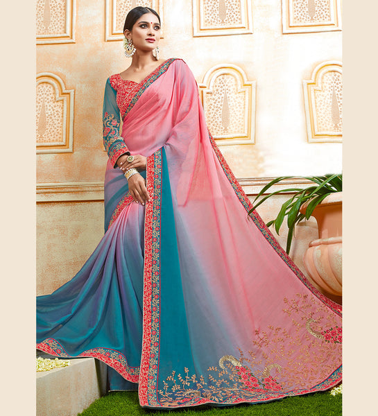 Designer Partywear Embroidered Shaded Light Pink & Deep Blue Georgette Chiffon Saree By Takshaya