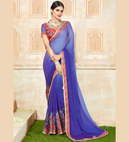 Designer Partywear Embroidered Shaded Royal Blue Georgette Chiffon Saree By Takshaya