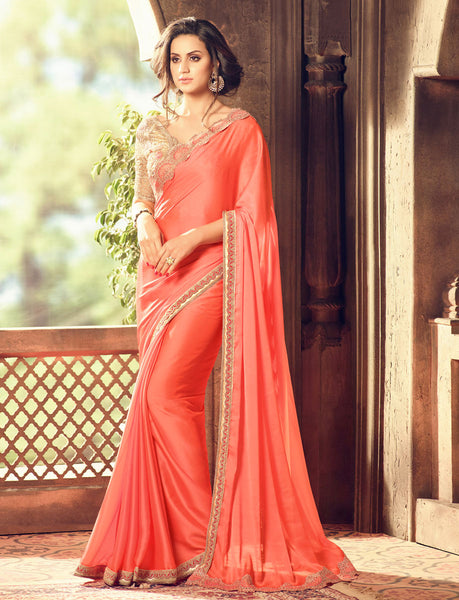 Designer Partywear Wedding Embroidered Peach Colour Golden Feel Silk Border Work Saree By Takshaya