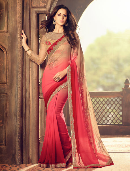Designer Partywear Wedding Embroidered Beige & Pink Colour Pesto Georgette Border Work Saree By Takshaya