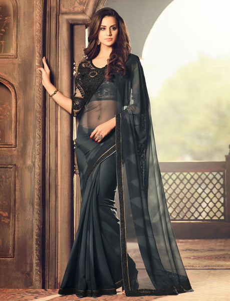 Designer Partywear Wedding Embroidered Black Colour Fossil Georgette Border Work Saree By Takshaya