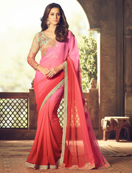 Designer Partywear Wedding Embroidered Pink & Beige Colour Pesto Georgette Border Work Saree By Takshaya