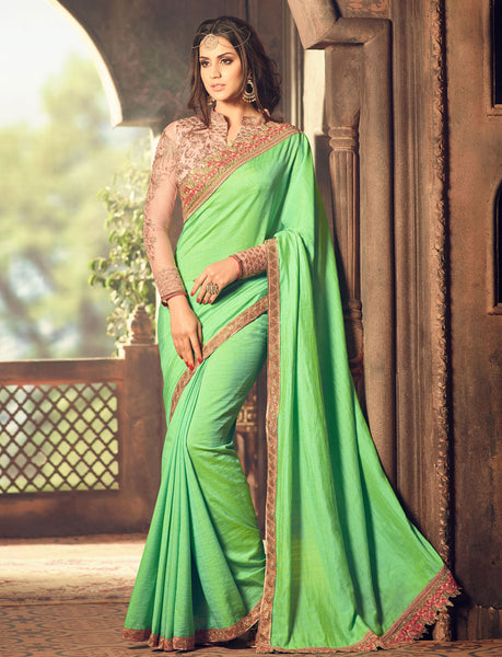 Designer Partywear Wedding Embroidrered Parrot Colour Mercury Silk Border Work Saree By Takshaya