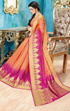 Designer Partywear Orange & Pink Zari Border Bonga Silk Saree By Takshaya