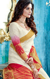 Designer Partywear Off White & Red Zari Border Bonga Silk Saree By Takshaya