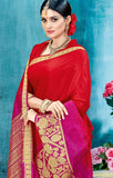 Designer Partywear Red & Pink Zari Border Bonga Silk Saree By Takshaya