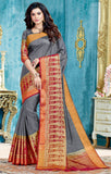Designer Partywear Grey & Red Zari Border Bonga Silk Saree By Takshaya