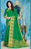 Designer Partywear Green Zari Border Bonga Silk Saree By Takshaya