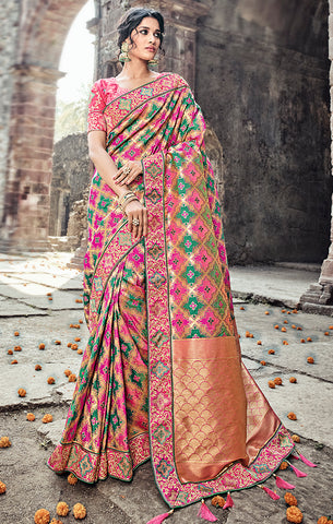 Designer Wedding Wear Multicolour Pure Banarasi Silk Saree