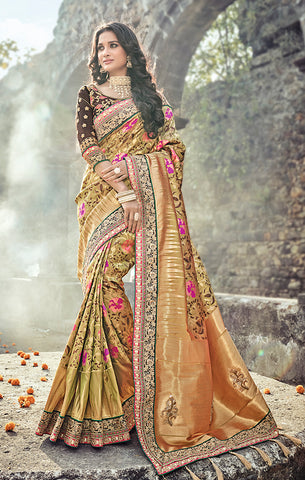 Designer Wedding Wear Olive Green & Brown Pure Banarasi Silk Saree