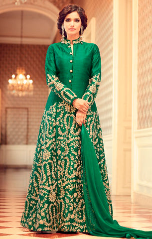 Designer Wedding Wear Green Semi-Stitched Tafeta Silk Anarkali Suit