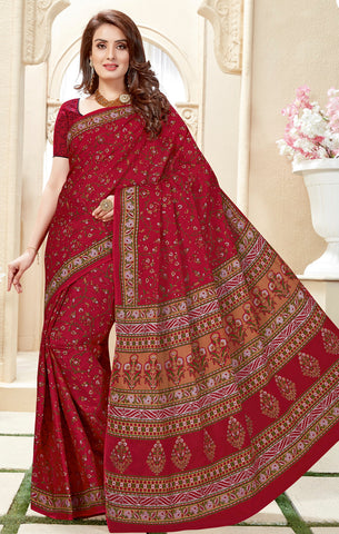 Designer Casual Wear Dark Maroon Cotton Printed Saree