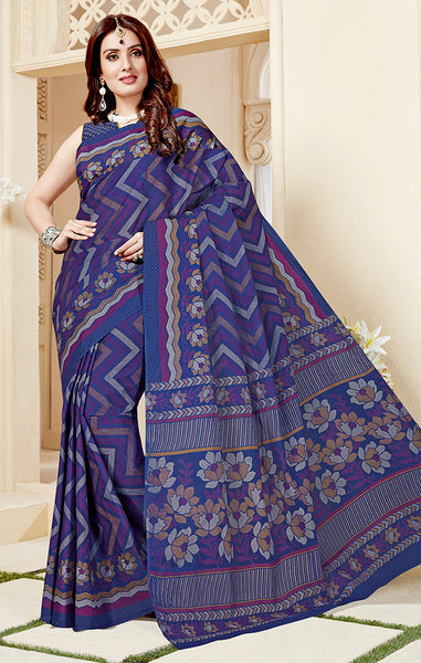 Designer Casual Wear Purple Cotton Printed Saree