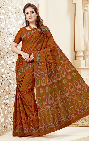 Designer Casual Wear Light Brown Cotton Printed Saree