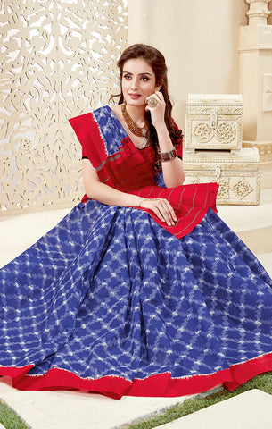 Designer Casual Wear Blue Cotton Printed Saree