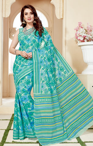 Designer Casual Wear Sea Green Cotton Printed Saree