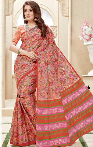 Designer Casual Wear Multicolor Cotton Printed Saree