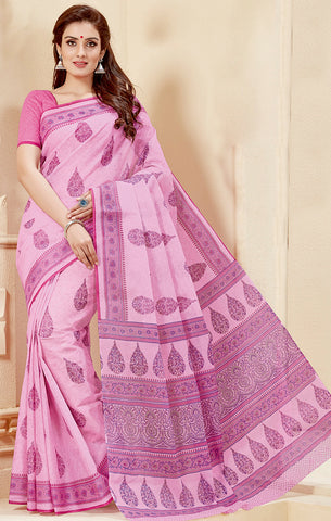 Designer Casual Wear Light Pink Cotton Printed Saree