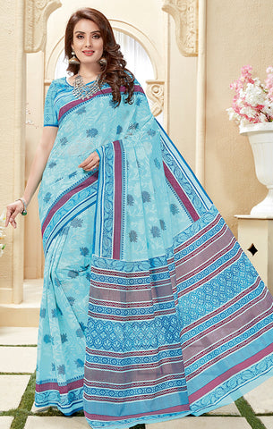 Designer Casual Wear Sky Blue Cotton Printed Saree