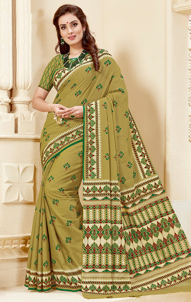 Designer Casual Wear Parrot Green Cotton Printed Saree