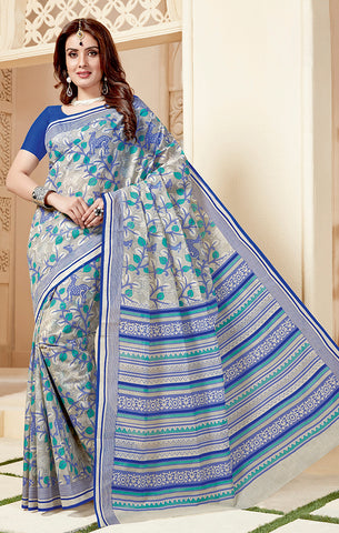 Designer Casual Wear Grey & Blue Cotton Printed Saree