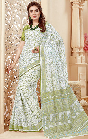 Designer Casual Wear Off White & Green Cotton Printed Saree