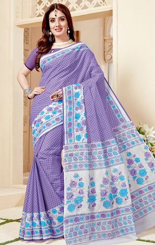 Designer Casual Wear Dark Purple & White Cotton Printed Saree