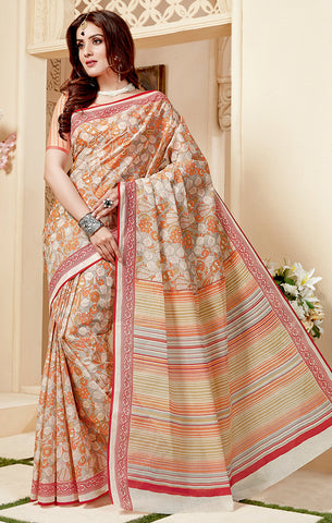 Designer Casual Wear Light Beige & Orange Cotton Printed Saree