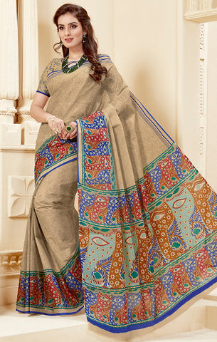 Designer Casual Wear Dark Beige Cotton Printed Saree