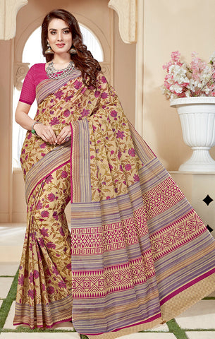 Designer Casual Wear Light Beige & Pink Cotton Printed Saree