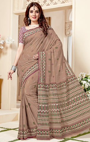Designer Casual Wear Onion Pink Cotton Printed Saree