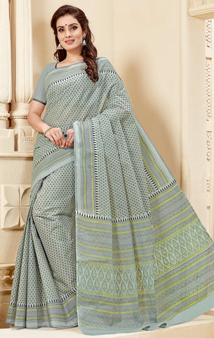 Designer Casual Wear Light Grey Cotton Printed Saree