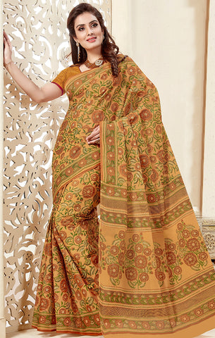 Designer Casual Wear Yellow Cotton Printed Saree
