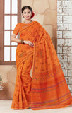 Designer Casual wear Printed Orange Color Cotton Saree By Takshaya