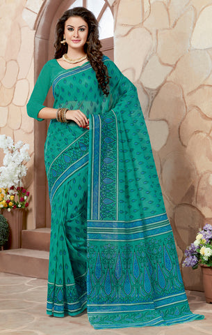 Designer Casual wear Printed Rama Green Color Cotton Saree By Takshaya