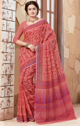 Designer Casual wear Printed Peach Color Cotton Saree By Takshaya