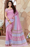 Designer Casual Wear Printed Pink Blue Cotton Saree