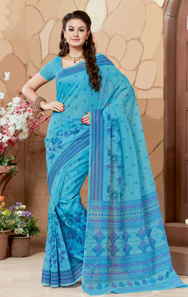 Designer Casual Wear Printed Blue Cotton Saree