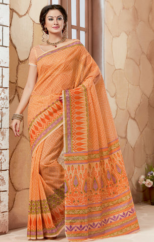 Designer Casual Wear Printed Orange Cotton Saree