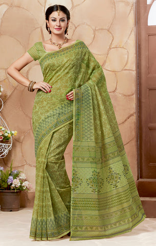 Designer Casual wear Mehendi Green Color Cotton Saree By Takshaya