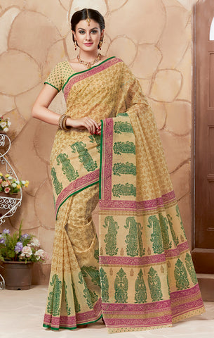 Designer Casual Wear Printed Beige Green Cotton Saree