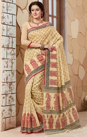Designer Casual Wear Printed Maroon Beige Cotton Saree
