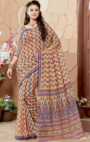 Designer Casual wear Beige & blue Color Cotton Saree By Takshaya