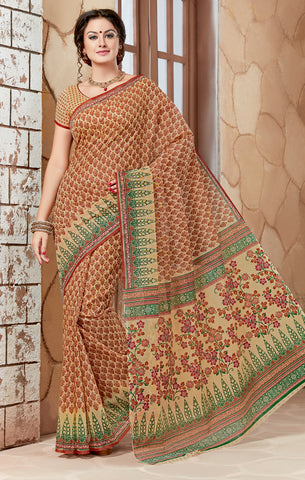 Designer Casual Wear Printed Maroon Green Cotton Saree